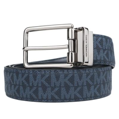MK MICHAEL KORS 滿版防刮針扣雙面用皮帶-深藍/黑