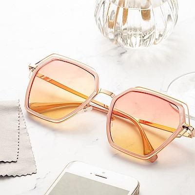 尚佰家 寶麗萊鏡片時尚造型抗UV太陽眼鏡-粉色框夕陽色(882A)