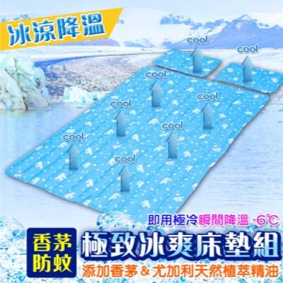 LifeEnjoy 消滅夏季熱浪 防蚊冰涼枕墊2+床墊1