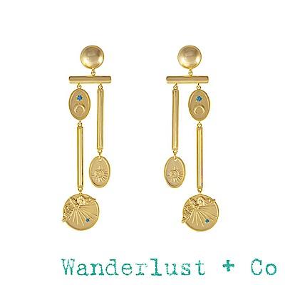 Wanderlust+Co 澳洲品牌 蜜蜂X太陽X月亮 復古垂墜式金色耳環 REVERIE