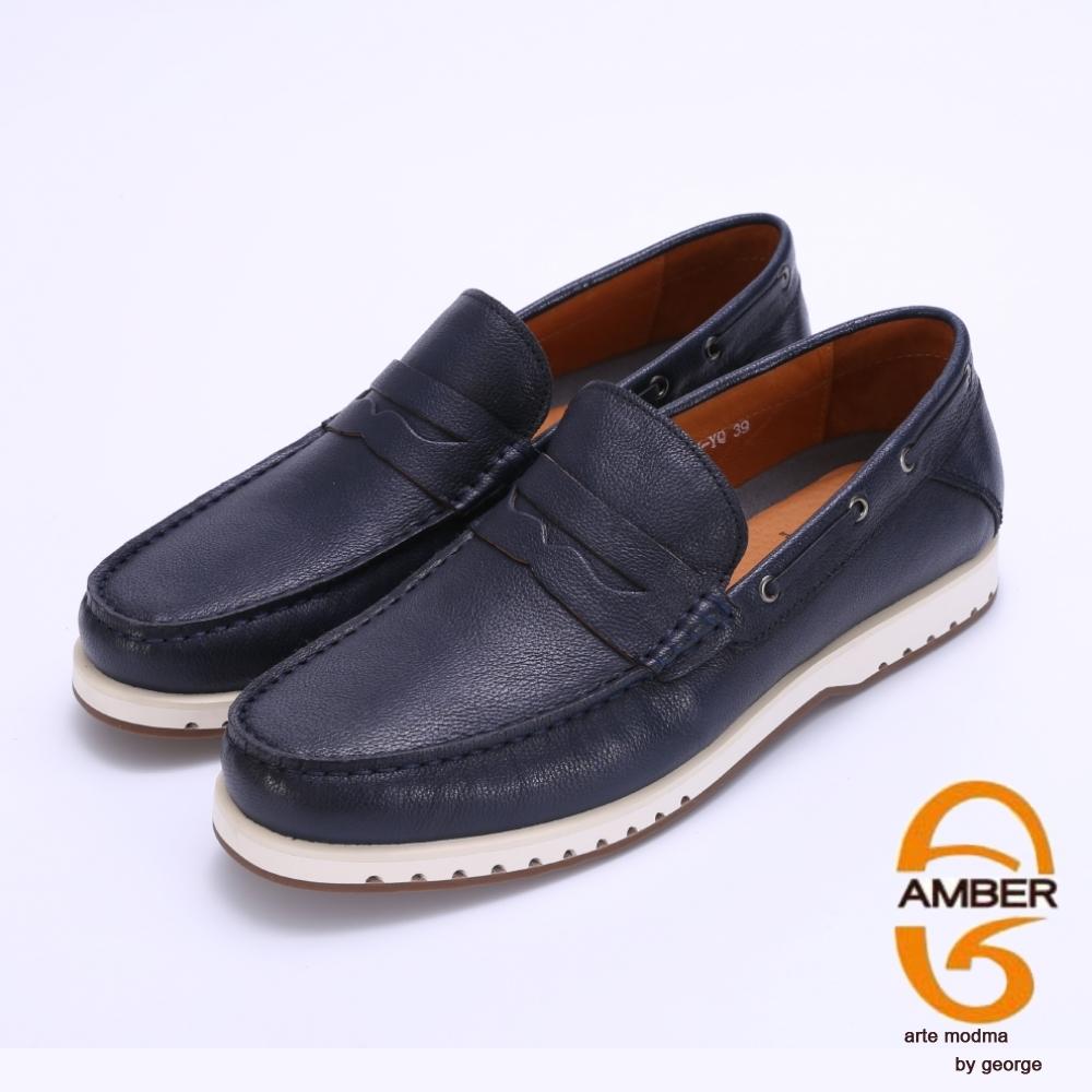Amber 超輕耐磨柔軟真皮樂福休閒鞋-藍色
