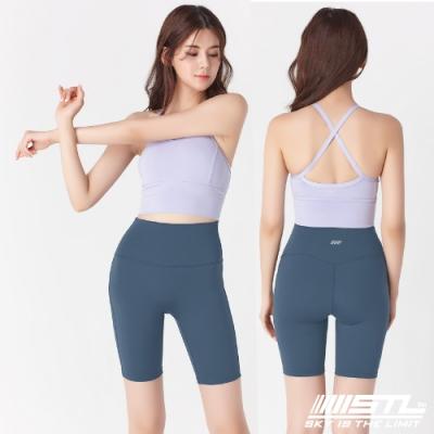 韓國 STL Yoga leggings FREE LINE 5『無尷尬線+高腰』韓國瑜珈 訓練拉提 自由曲線緊身5分短褲 蒼蘭綠AmpleGreen