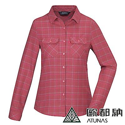 【ATUNAS 歐都納】女款中空纖維保暖長袖格子襯衫A-S1812W莓紅格