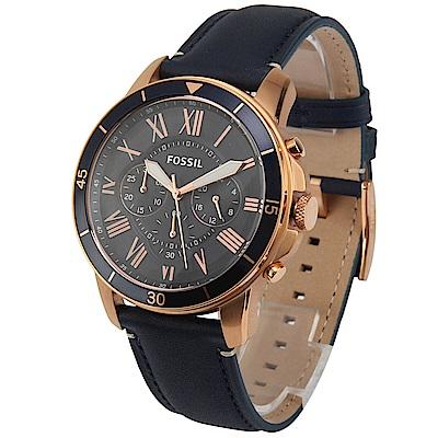 FOSSIL 羅馬時標三眼計時皮革腕錶-(FS5237)-43mm