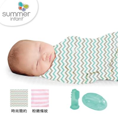 美國 Summer infant 純棉懶人聰明包巾(粉嫩條紋+時尚簡約風+指套型牙刷含盒)