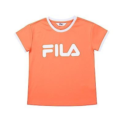 FILA KIDS 童短袖吸濕排汗上衣-橘色 5TET-4504-OR
