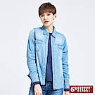 5th STREET 刺繡牛仔長袖襯衫-女-漂淺藍