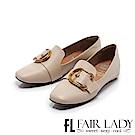 Fair Lady Soft懶骨頭 俐落有型金屬扣飾方頭平底鞋 象牙
