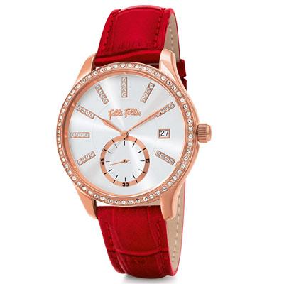 Folli Follie Style Bonding 奢華水鑽腕錶36mm/紅