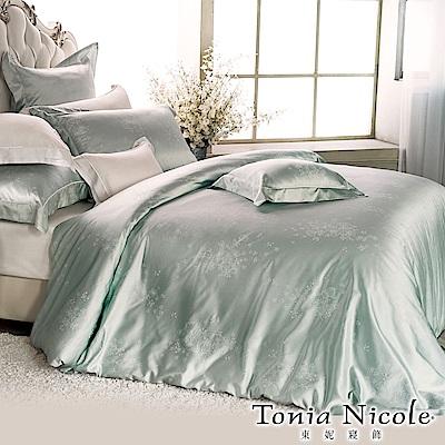 Tonia Nicole東妮寢飾 綠珀微雪蠶絲精梳棉緹花被套床包組(雙人)