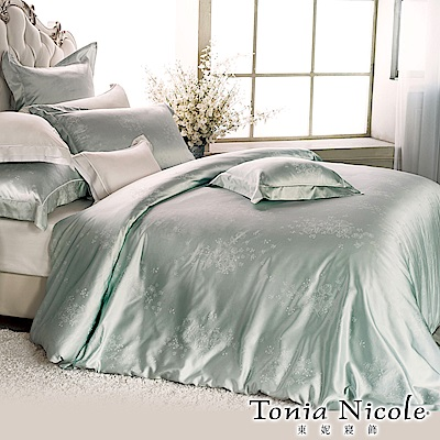 Tonia Nicole東妮寢飾 綠珀微雪蠶絲精梳棉緹花被套床包組(特大)