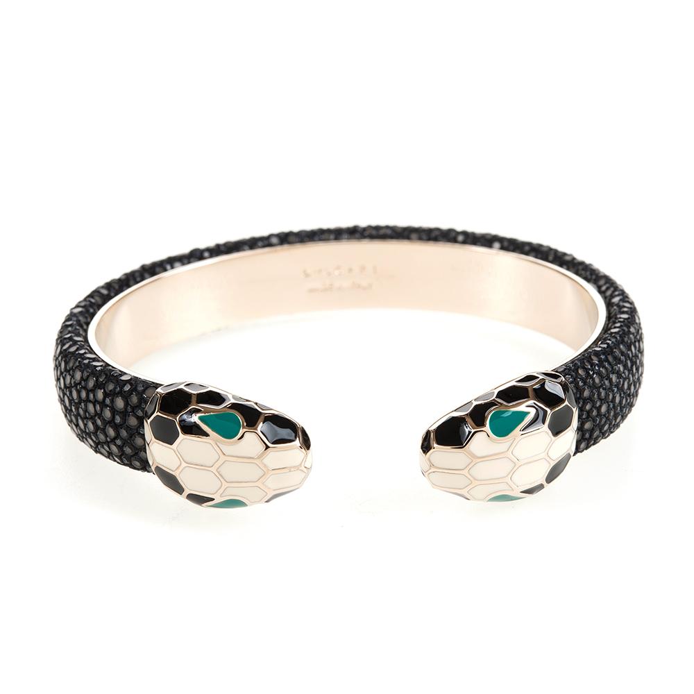 BVLGARI 寶格麗 Serpenti系琺瑯雙蛇頭珍珠魚皮手環 (黑色/S)
