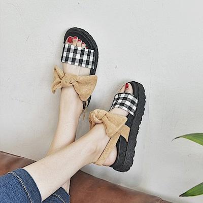 韓國KW美鞋館 韓新品躍動哈佛好感厚底涼鞋-卡其色