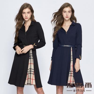 【麥雪爾】交叉翻領拼接格紋短洋裝-共兩色