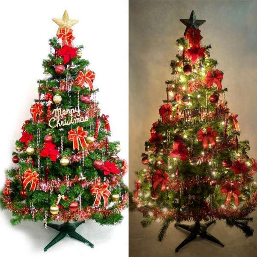 摩達客 10尺豪華版裝飾綠聖誕樹+紅金色系配件組+100燈鎢絲樹燈7串