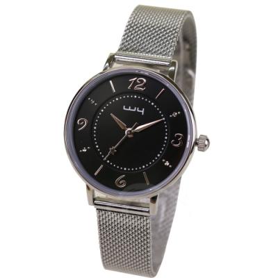 WY威亞 探索視界米蘭銀帶錶-黑盤銀針