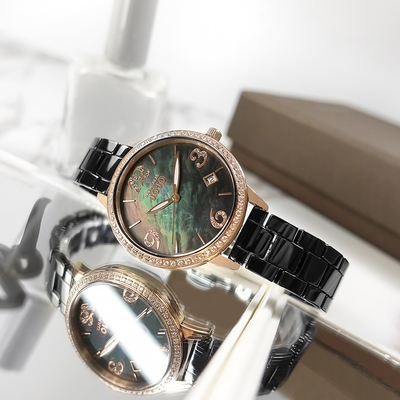 NATURALLY JOJO / 珍珠母貝 日期 晶鑽時尚 陶瓷手錶-黑x玫瑰金框/34mm