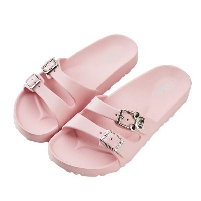 迪士尼親子鞋 米奇 雙釦大人拖鞋-粉