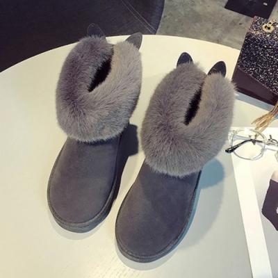 KEITH-WILL時尚鞋館-輕柔甜美俏佳人絨面兔耳雪靴-灰色