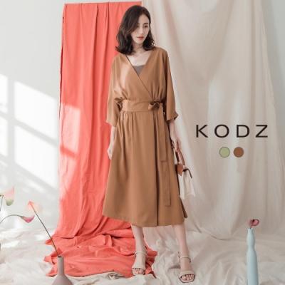 東京著衣-KODZ 隨興好感大V領側綁帶兩穿式洋裝-S.M.L(共二色)
