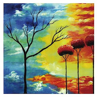 橙品油畫布 單聯 時尚無框畫掛畫-冷暖 50x50cm