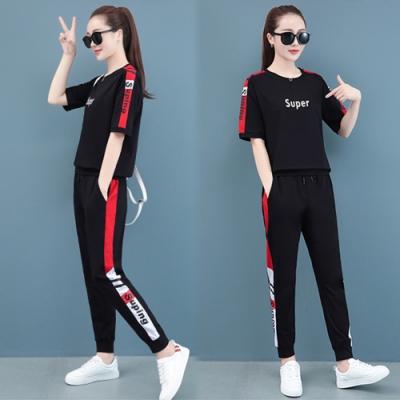 【韓國K.W.】(預購)英倫風復古運動套裝褲-3色
