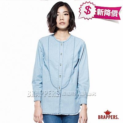 BRAPPERS 女款 牛仔長袖長版襯衫-淺藍