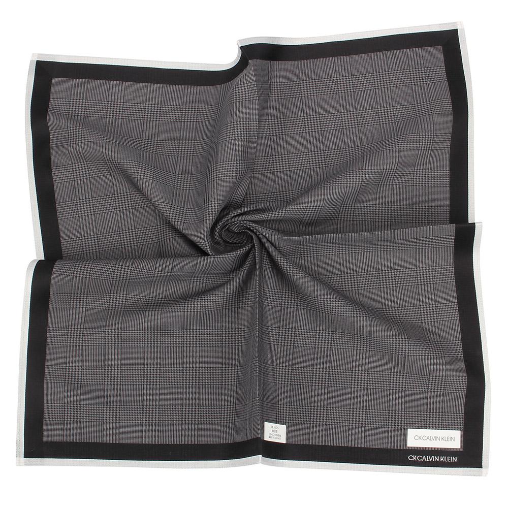 Calvin Klein 千鳥格紋純綿帕巾-灰黑色