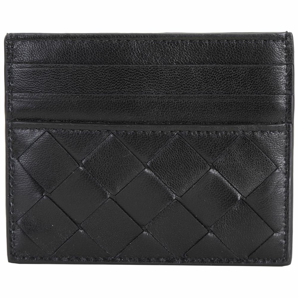 BOTTEGA VENETA 15 VN 大格編織羊皮拼牛皮卡夾/名片夾(黑色)