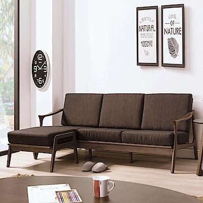 AS-凱恩淺胡桃咖啡布L型沙發椅組