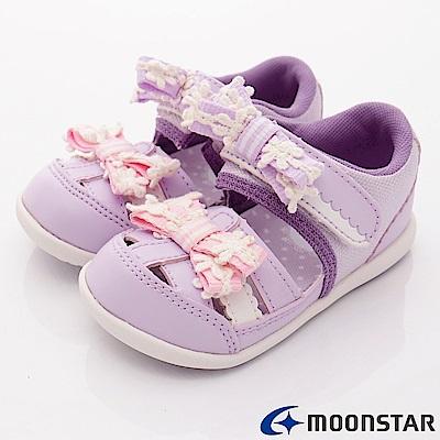 日本Carrot機能童鞋 緞帶護趾涼鞋款 B819紫(寶寶段)