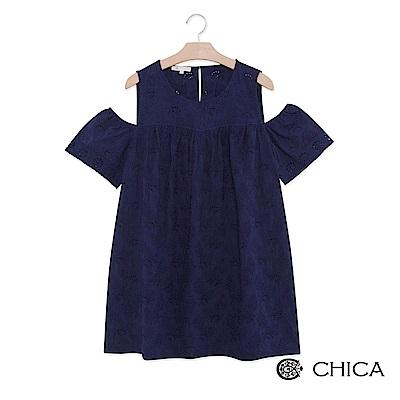 CHICA 優雅恬靜緹花蕾絲挖肩設計上衣(2色)