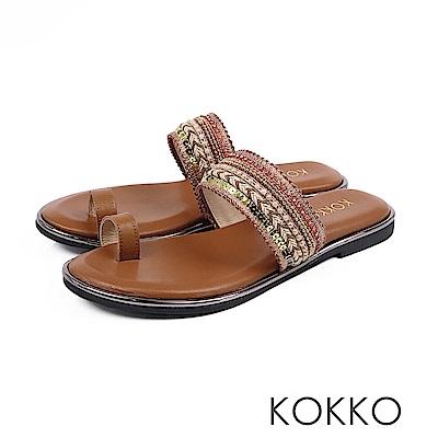 KOKKO -漫步海島旅行平底指環涼鞋 - 烤奶茶