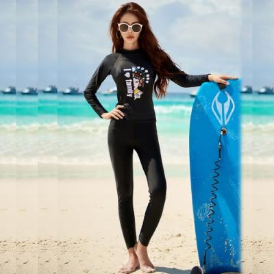 Biki比基尼妮泳衣,臉譜長袖長褲泳衣泳裝三件式泳衣M-XL(長袖上衣+三角+長褲)