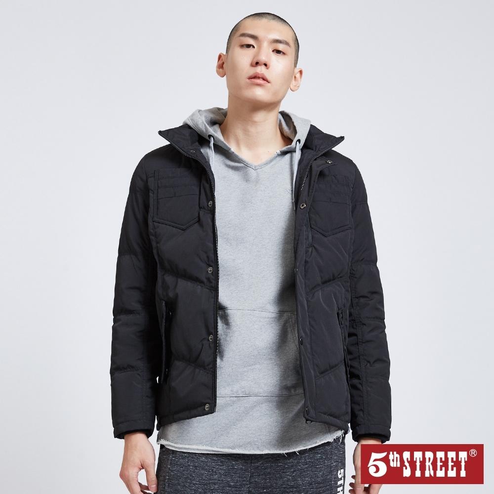 5th STREET 貼袋修身款 羽絨外套-男-黑色