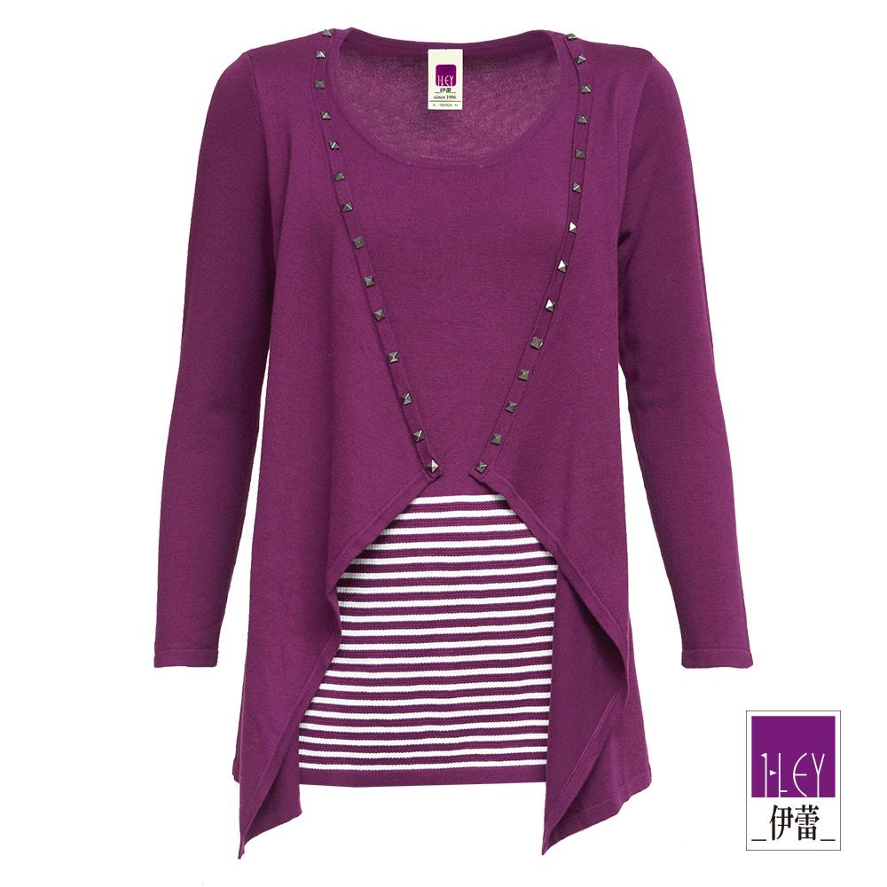ILEY伊蕾 手縫鉚釘裝飾假兩件長版針織上衣(紫)