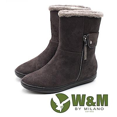W&M 絨布刷毛雪靴 中筒靴 女鞋 - 灰咖 (另有黑)