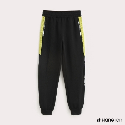 Hang Ten-ThermoContro-童裝色塊機能束口休閒長褲-黑
