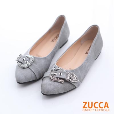 ZUCCA-華麗金屬圖紋尖頭平底鞋-灰-z6519gy