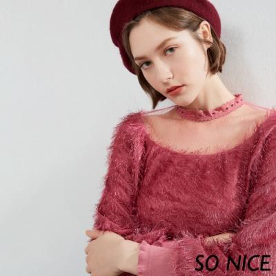 SO NICE時尚網紗拼接流蘇上衣