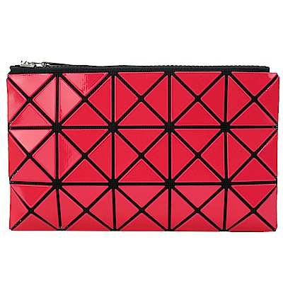 ISSEY MIYAKE 三宅一生BAOBAO 3x5幾何方格長型亮面零錢手拿包(紅)