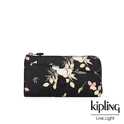 Kipling 沉靜黑浪漫花卉實用拉鍊長夾-ANILOCK