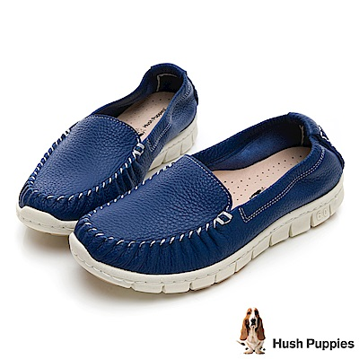 Hush Puppies Petrel 柔軟牛皮懶人鞋-藏青