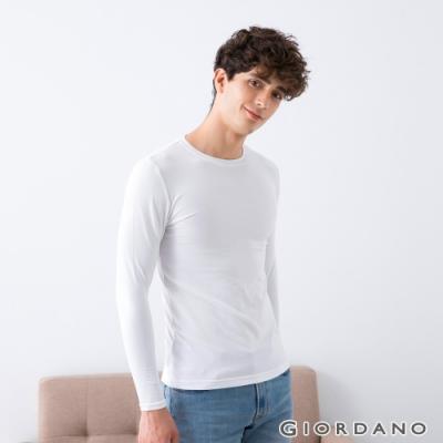 GIORDANO 男裝G-Warmer彈力圓領極暖衣 - 01 標誌白