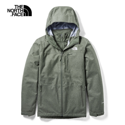 The North Face北面男款綠色戶外防水透氣三合一外套 3VSI21L