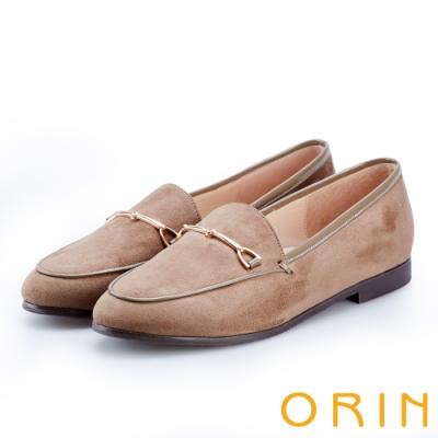 ORIN 女紳時尚 經典絨面馬銜扣樂福鞋-可可