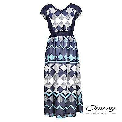 OUWEY歐薇 輕薄雪紡幾何圖形印花長版洋裝(藍)