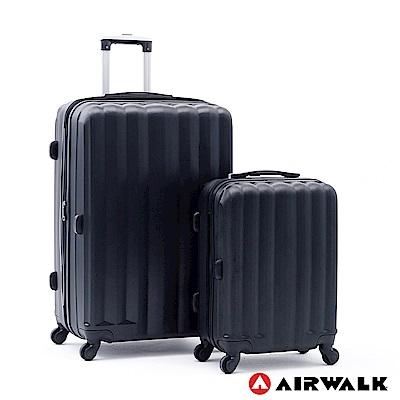 AIRWALK -海岸線系列 BoBo經濟款ABS硬殼拉鍊20+28吋兩件組-黑水黑