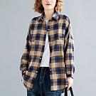 NUMI  森-寬鬆格子紋襯衫外套-共2色-(L/XL可選)