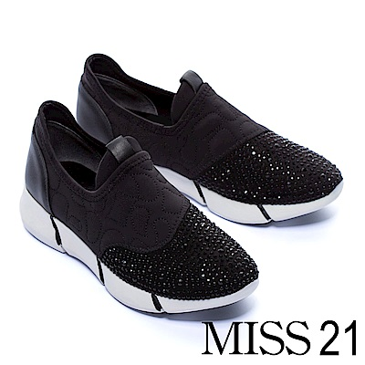 休閒鞋 MISS 21 現代奢華異材質拼接水鑽厚底休閒鞋-黑